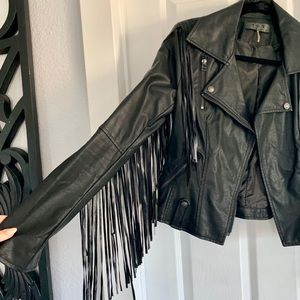 Jackets & Blazers - Faux Black Leather Fringed Jacket